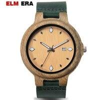 ELMERA Homem de Couro 2018 Relógios De Madeira Relógio de Madeira Verde Sandália Presentes Relógio de Pulso de Esportes para Homens
