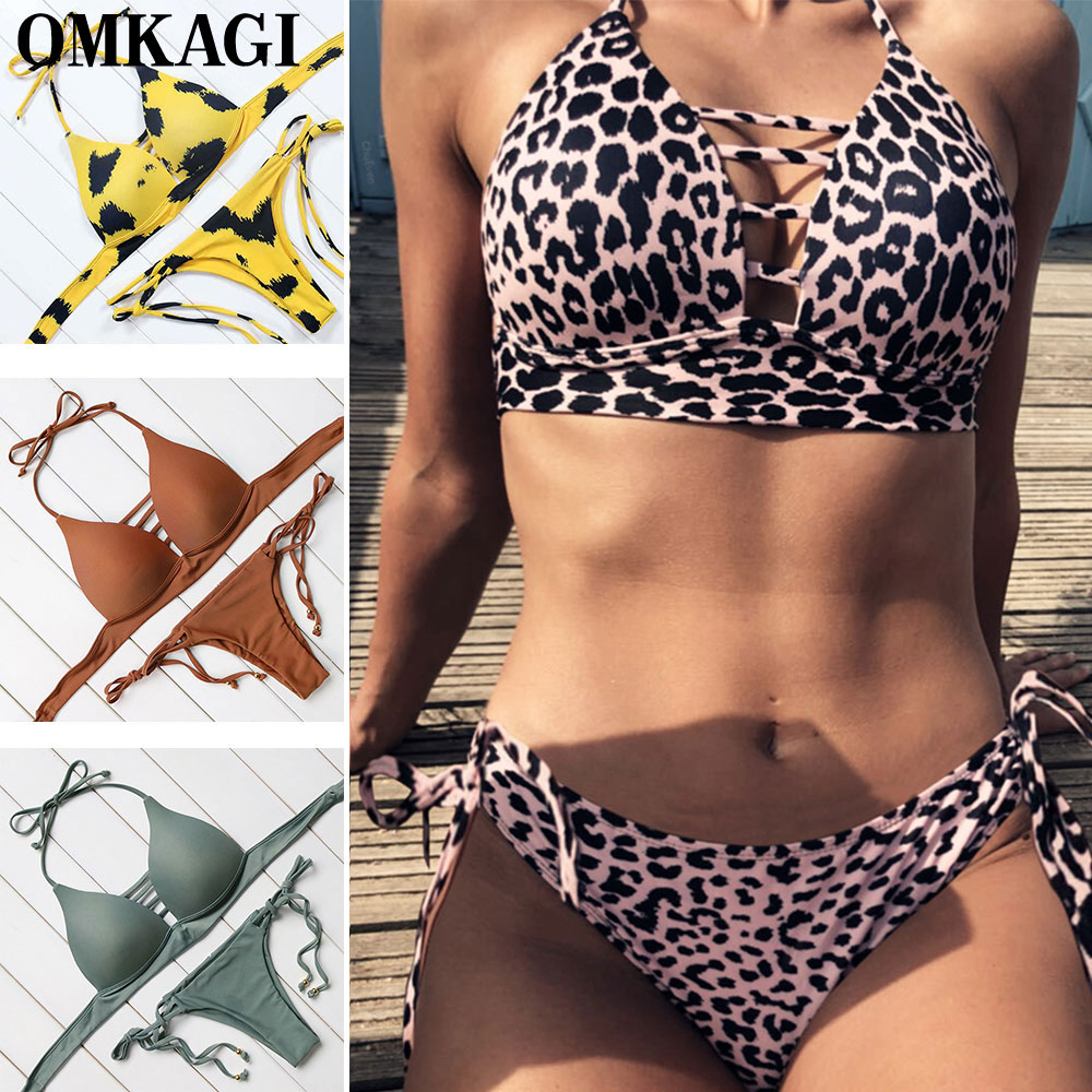 OMKAGI Swimsuit Swimwear Women Biquini Sexy Push Up Bikini Set Swimming Bathing Suit Beachwear Maillot De Bain Femme Bikini new sexy bikini swimwear women 2018 bandage bikinis set push up bathing suit biquinis maillot de bain femme beachwear swimsuit