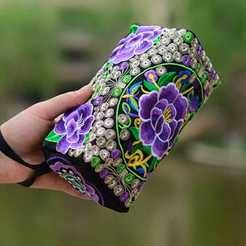 Women Ethnic Peony Flowers Embroidery Phone Female Bag Wallet National Long Wallet HandBag Purse Random Color Send WML99