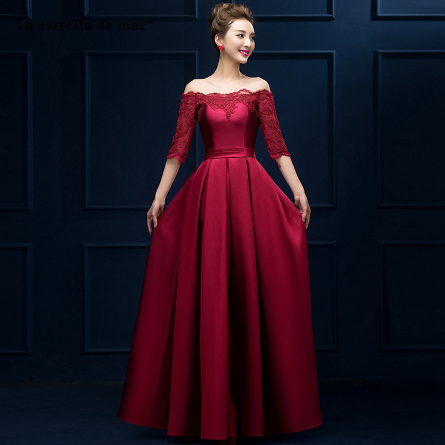 La estrella de mar vestido madrinha Hot Sell Lace Satin Boat Neck Half Sleeve A Line burgundy Red   bridesmaid     dresses   Long plus