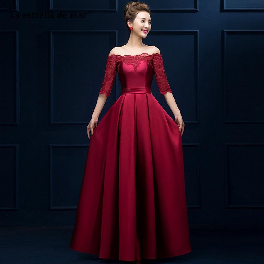 La Estrella De Mar Vestido Madrinha Hot Sell Lace Satin Boat Neck Half Sleeve A Line Burgundy Red Bridesmaid Dresses Long Plus