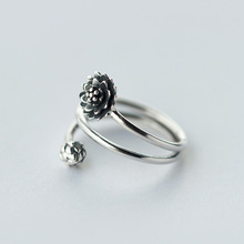 Retro REAL.Solid 925 Sterling Silver jewelry 3-layers Multi-Rows Lotus Flower &Bub Ring Namaste Yoga GTLJ911