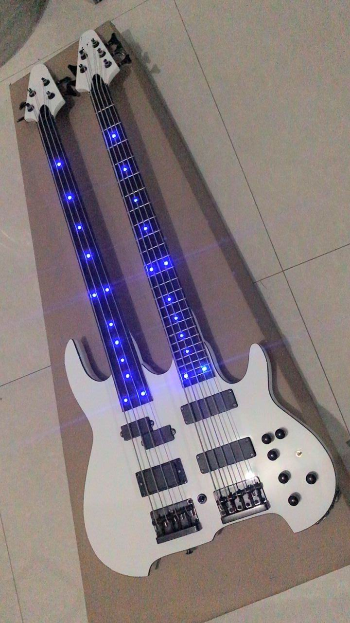 Double neck electric bass guitar one 4 string/one 5 string ,active pickups with led neck in white 171210 custom shop one piece set neck through body 4 strings fodera butterfly bass guitar burl wood cover support bass guitar customize