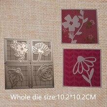 Flowers square metal cutting dies for Scrapbooking paper card album envelope decorative embossing stencil 102*102 mm