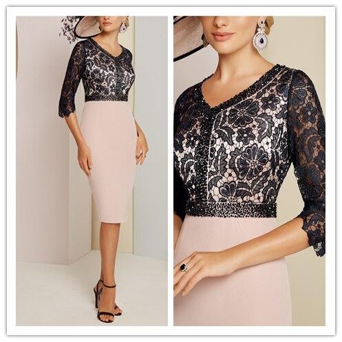 New Designed Three Quarter Cap Sleeves Sheath Chiffon And Lace Beading Knee-Length Illusion kurti mother of the bride dresses