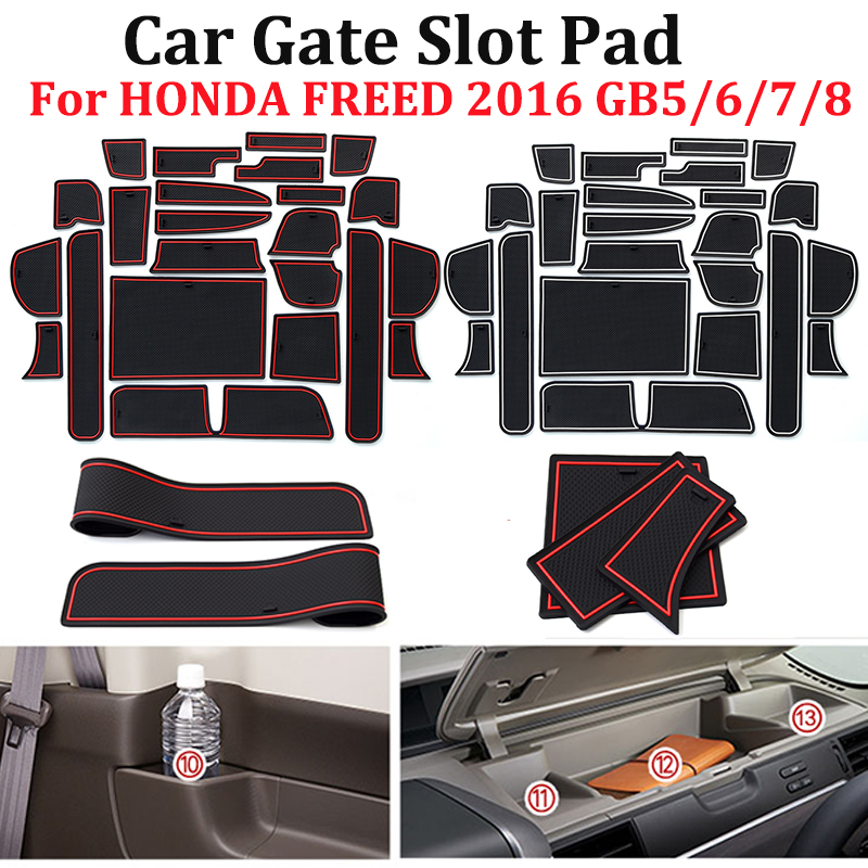 23pcs/set Car Gate Slot Mat Interior Door Pad/Cup Non-slip Mats Red/white/black Color For HONDA FREED 2016 GB5/6/7/8 Car Styling