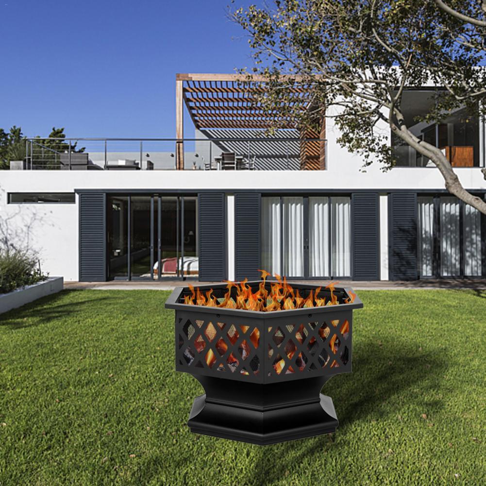 Iron-Brazier Fire-Pit-Decoration Backyard For Poolside Hexagonal-Shaped Wood-Burning