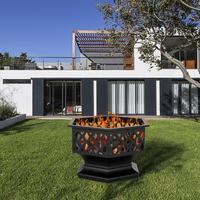 24 Hexagonal Shaped Iron Brazier Wood Burning Fire Pit Decoration For Backyard Poolside