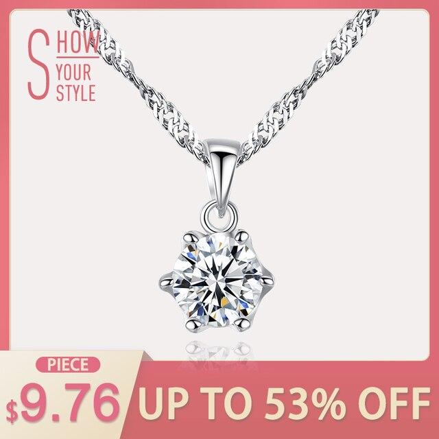 CZCITY Brand Simple Style Classic 1 Carat Cubic Zirconia Shiny Women 925 Silver