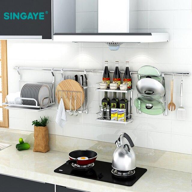 Sine 304 Stainless Steel Wall Mounted Kitchen Rack Organizer Tools Storage Frame Drain Bowl Dish Hanging Shelf
