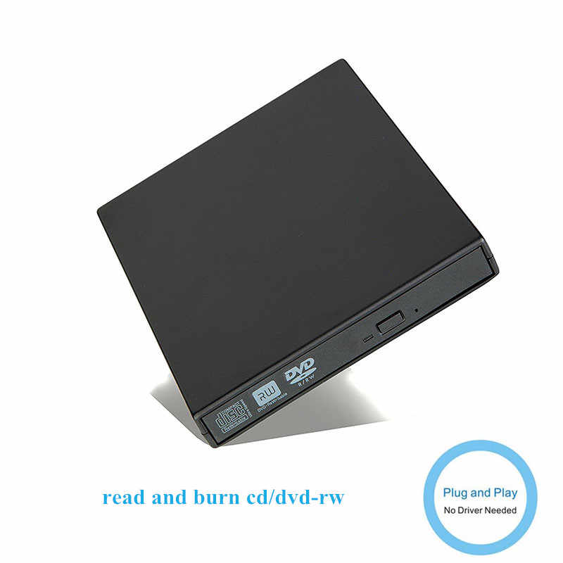 Eksternal DVD Drive Optik USB 2.0 DVD-ROM Player Cd/DVD-RW Burner Reader Writer Perekam Portatil untuk Windows PC/ WIN 10/8/7/XP