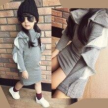 2016 nouvelle marque filles gris robe pleine manches À Volants col haut enfants fille crayon robes tenue pour enfants vêtements