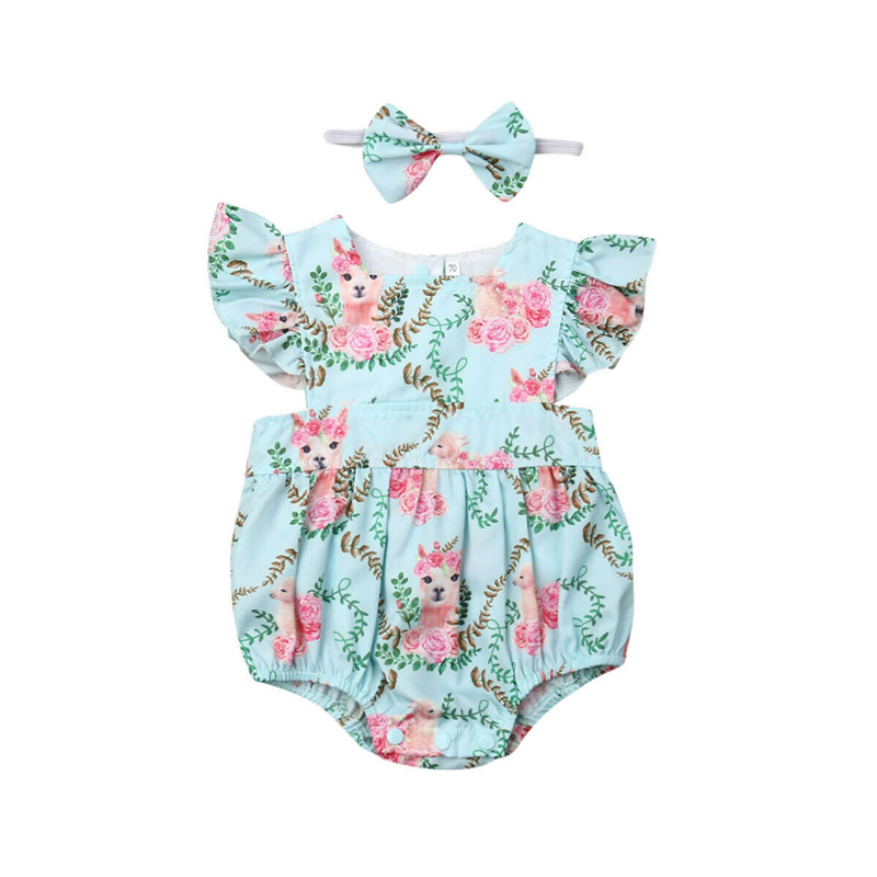 Baby Girl Bodysuits Infant Baby Girl Alpaca Bodysuit Jumpsuit Outfits Clothes Headband Set Baby Bodysuit Cotton O-neck New