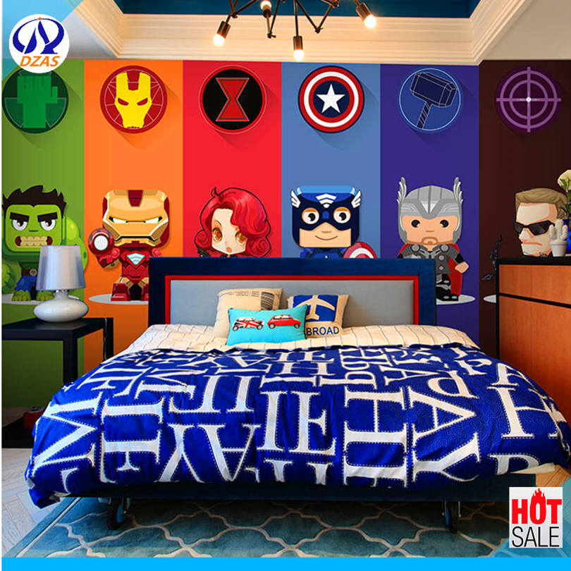 DZAS 3d Cartoon Superman Avengers Marvel Wallpaper Children's Room Background Wallpaper Dormitory Mural Wall Cloth