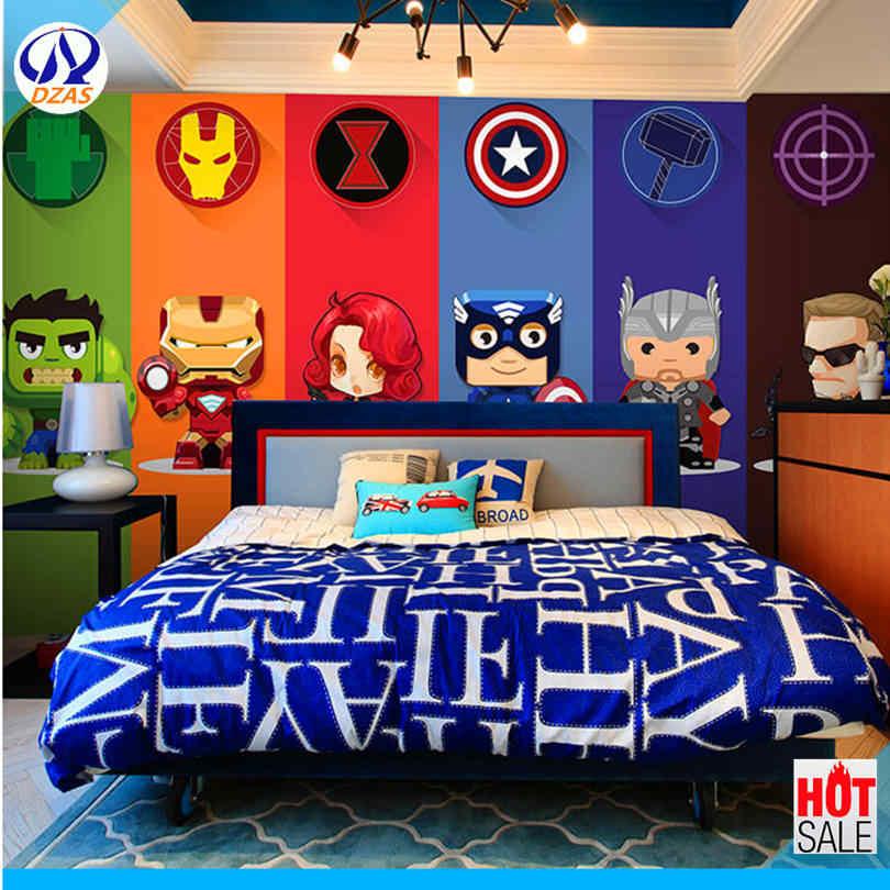 Dzas 3D Kartun Superman Avengers Marvel Wallpaper Kamar Anak-anak Latar Belakang Wallpaper Asrama Dinding Mural Kain