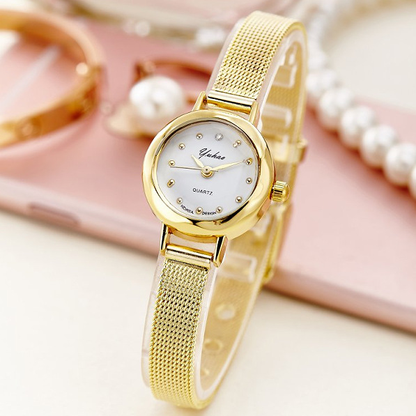 2019 Korean Fashion Luxury Women's Watch Small Dial Steel Band Gold Watch Female Quartz Watch