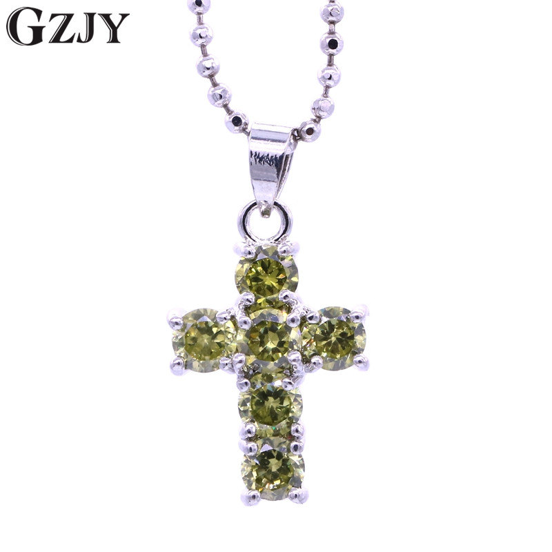 GZJY Fashion Party Jewelry Corss Crystal Chain Necklace Pendant For Women Charm Zircon White Gold Color Female Wedding Gift