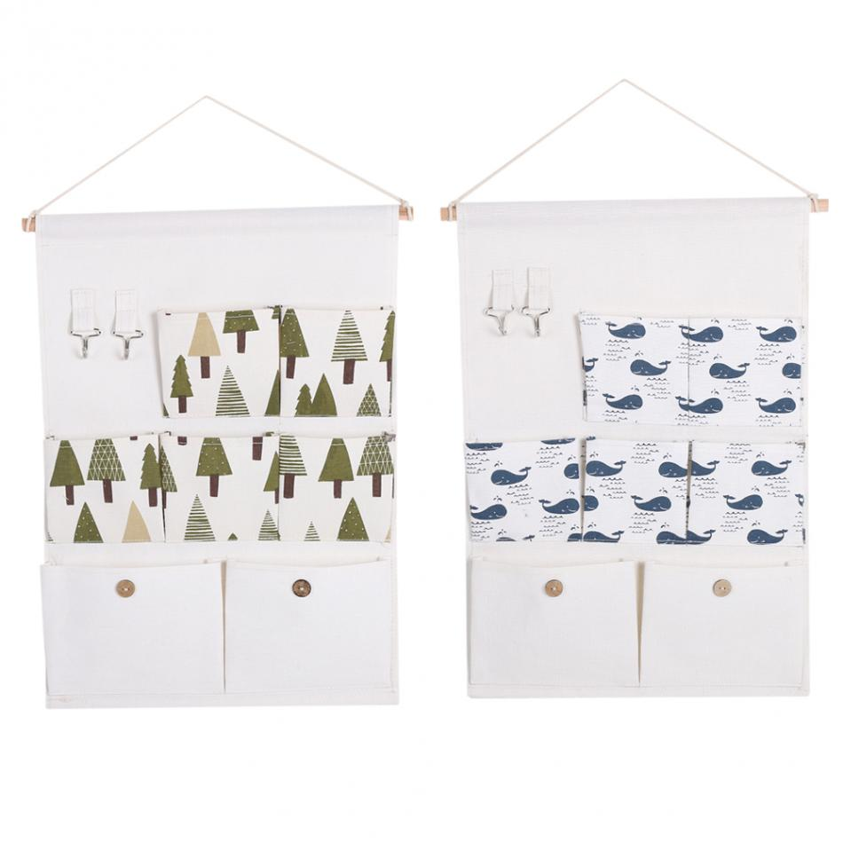 Wall Door Closet Hanging Storage Bag Case 7 Pockets Cotton Linen Fabric Organizer Storage Container With Rope Shelf