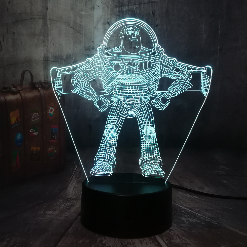 NEW Toy Story Buzz Lightyear 3D LED Night Light Desk Lamp RGB 7 Color Boys Kids Boy Toys Home Decor Baby Christmas Birthday Gift