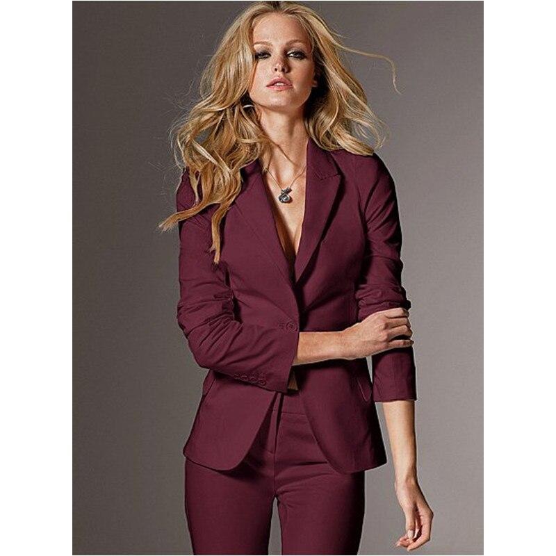 Femmes soirée pantalon costumes femmes de haute qualité sur mesure vin Slim costume bureau dames travail porter pantalon costumes formelle femme 2 pièces