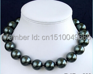 FREE SHIPPING hot sell >>12 mm Black Sea Shell Pearl Silver Clasp Necklace
