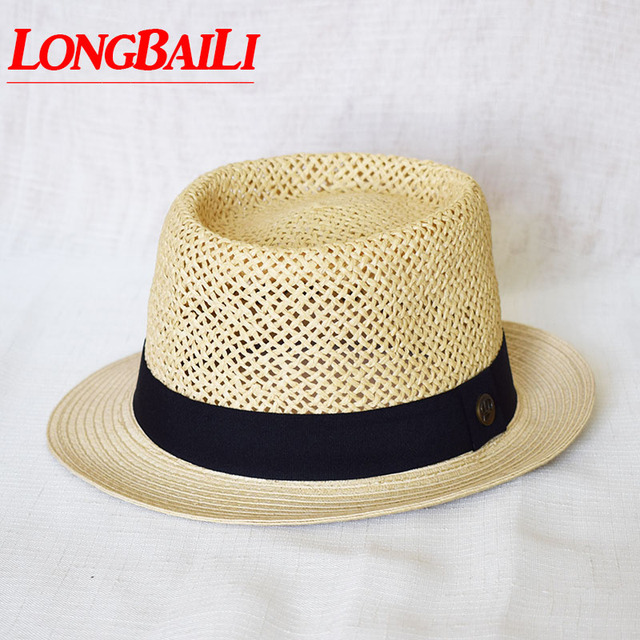 New Plain Summer Men Straw Porkpie Hats Women Sun Beach Fedora Hats  Sombrero SDDS063 85a8330199a