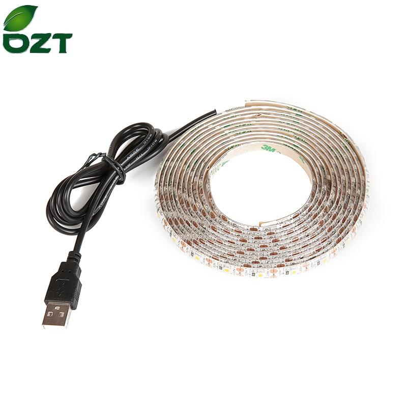 DC5V USB անջրանցիկ LED ժապավեն SMD 3528 RGB ճկուն թեթև լամպեր LED թեթև հեռուստատեսություն ֆոնային լուսավորություն սոսինձ ժապավեն 1M 2M 3M 4M 5M