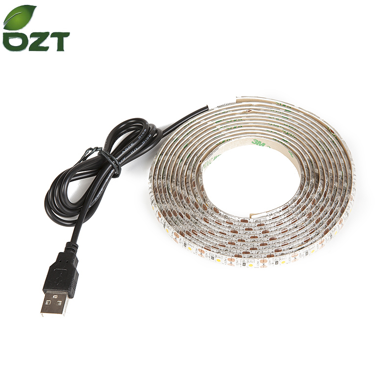 DC5V USB Vattentät LED-remsa SMD 3528 RGB Flexibla Ljuslampor LED Ljus TV Bakgrundsbelysning Lim Tape 1M 2M 3M 4M 5M