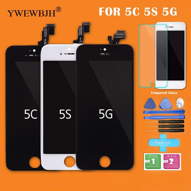 YWEWBJH AAA LCD Touch Screen Per iPhone 5 5 S 5C LCD Display Montaggio Con Digitizer Parte di Riparazione Nero Bianco Vetro Nessun Morto