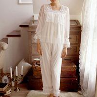 CFYH Women Pajamas 2018 NEW White Pink Mesh Lace Princess Pajama Pants Sets Royal Retro Sweet