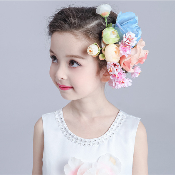 816feb27a46d3 Girl Flower Hair Clip Fascinator Princess Kid Hair Accessories Fashion  Children Barrette Wedding Dance Dress Hairpin Headwear -in Hair Accessories  from ...