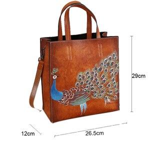 Image 5 - جوهنيتشر 2020 حقيبة جلد طبيعي جديدة كلاسيكية مطبوعة على شكل حيوانات مع سحاب متين متعدد الاستعمالات حقائب يد نسائية طاووس مرسومة يدويًا