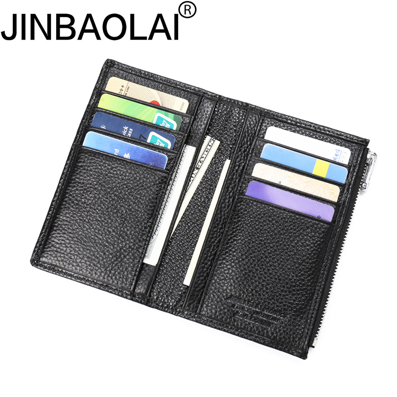 Zipper Long Fashion Card Holder Real Men Genuine Leather Wallet Male Purse Coin Clutch H ...