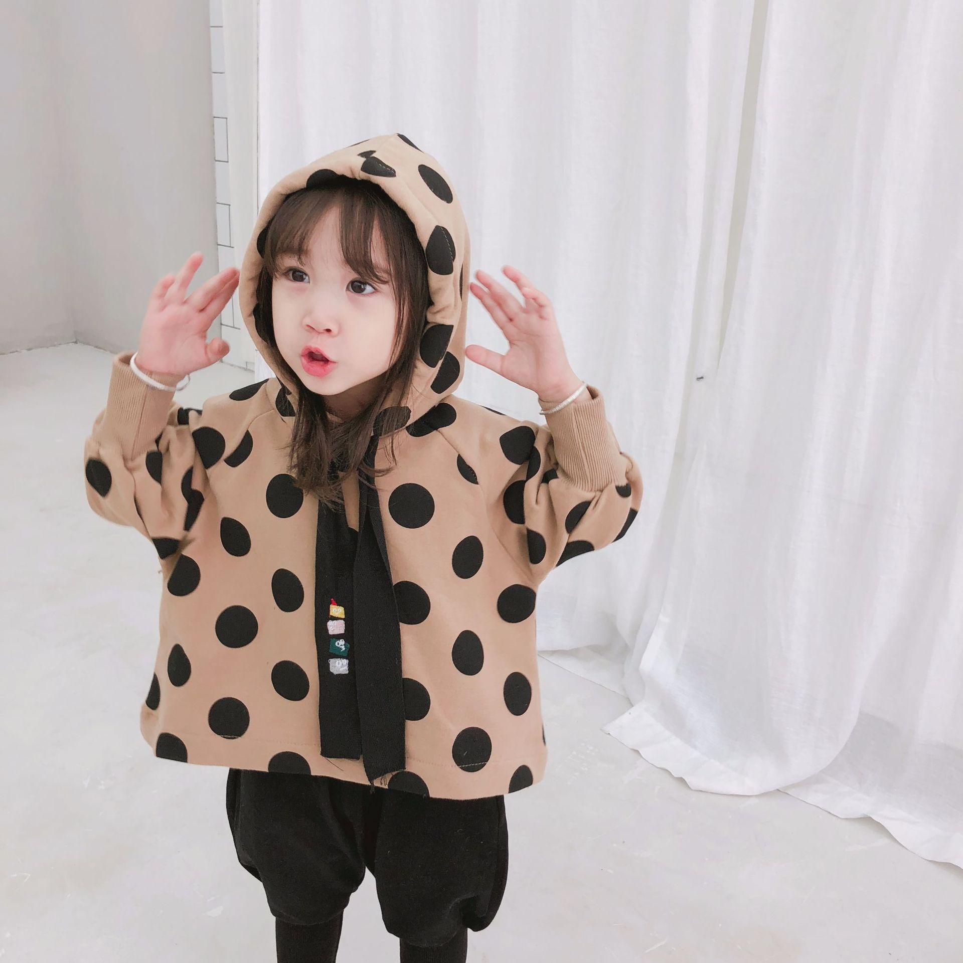 Sweatshirt Pullovers Long-Sleeve Girls Autumn Kids Children Hooded for Tees 2-7Y Polka-Dot