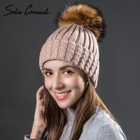 Sole Crowd Autumn Winter Warm Knitted Twist Wool Hats For Women With Natural Raccoon Fur Pompom