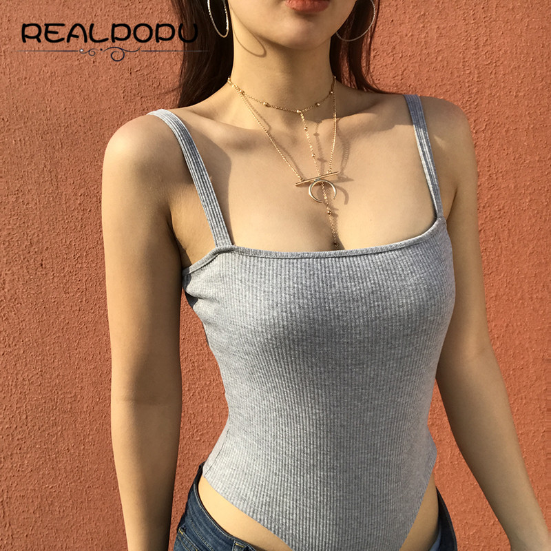Realpopu Knitted Solid Gray Straps Casual Women Slim Waist Playsuit Sexy Summer Streetwear Sleeveless Rompers Womens Jumpsuit