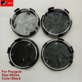4pcs 60mm Black Wheel Center Hub Cap 60mm Wheel Center Covers Fit For Peugeot Emblem Badge206 207 307 308 301 407 408 508(black)