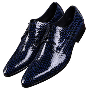 2018 Black / Blue Serpentine Pointed Toe Prom shoes Mens Business Dress Shoes Patent Leather Groom Shoes Male Office Shoes Formal Shoes