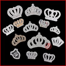 1 pcs White Crown Hot fix Rhinestone Motif Iron on Crystal Patch Badage Children Women Clothes Bride Wedding Dress Accessories(China)