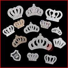 1 Uds corona blanca arreglo caliente Diamante de imitación motivo hierro en cristal parche Badage niños mujeres ropa novia accesorios de vestido de novia