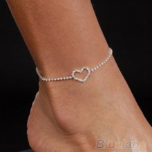 12pcs Lady Love Heart Rhinestone Ankle Bracelet Sandal Beach Foot Chain Anklet Jewelry