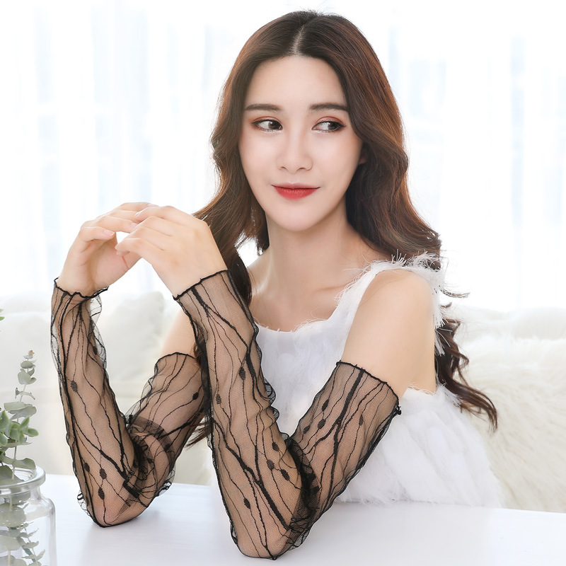 Arm Warmers Women Summer Thin Sun Protection Sleeves Solid Mesh Lace UV Long Sleeve  All-match Leisure Outdoor