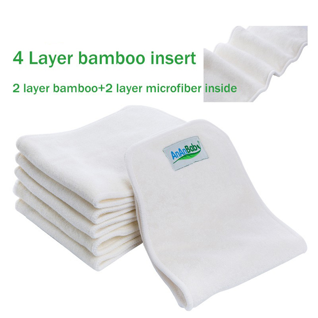 bamboo diaper 4 Layers 10 pcs Cloth diapers Inserts Nappy changing mat Baby Diapers Reusable diaper changing pad Liners