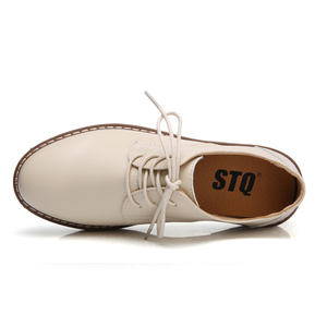 Image 4 - STQ 2020 Autumn Women Oxfords Shoes Flats Shoes Women PU Leather Lace Up Flat Heel Rubber Boat Shoes Round Toe Moccasins QSG932