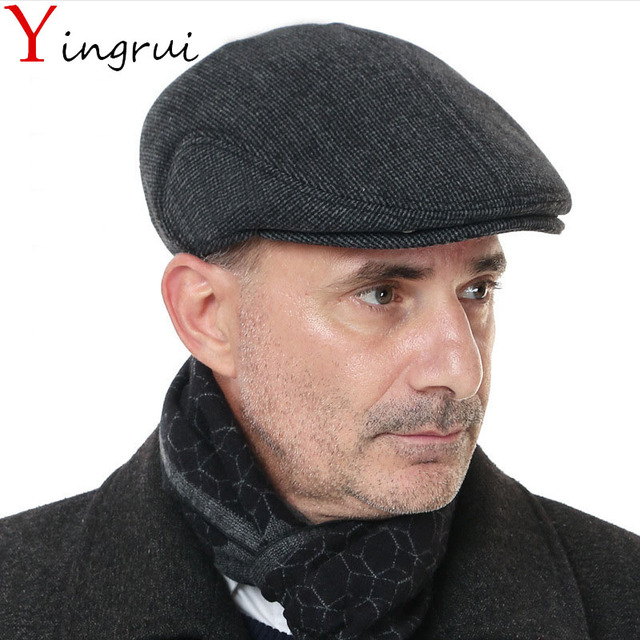4ca5e5b88c0c9 Father s Day Gift Vintage Catsby Newsboy Caps Winter Golf Driving Hats  Woolen Stripes Earflaps Ivy Caps For Mens Flat Cabbie