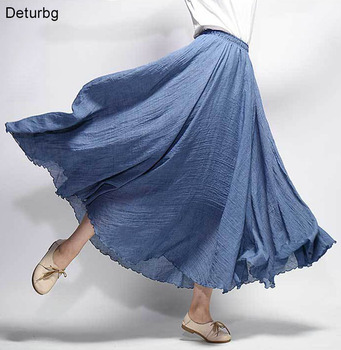 Women's Elegant Pleated Cotton Linen Maxi Skirt 2018 Summer Ladies Casual Elastic High Waist 2 Layer Skirts Saia 20 Color SK53