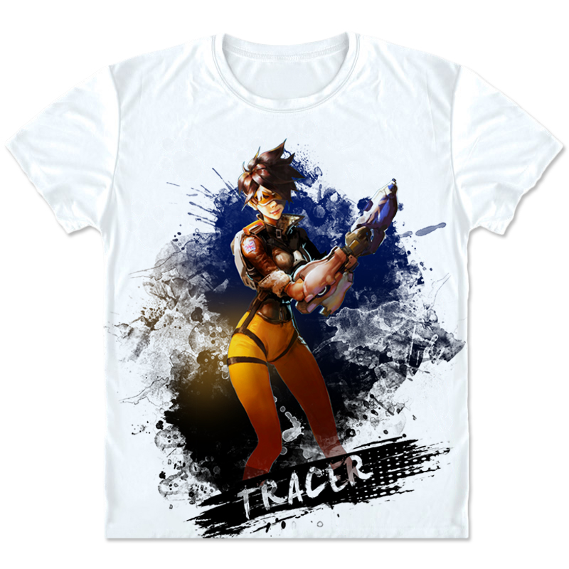 New Game OW Costumes Tracer Cosplay t shirt Fashion Casual Tees Men/Women O-neck Short T shirts Clothings High quality Plus Size