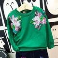 2017 Primavera T-shirt Para As Meninas Flor Bordado Camisolas Dos Miúdos Crianças Menina T Camisas Criança Camisa Criança Encabeça Trajes Do Bebê
