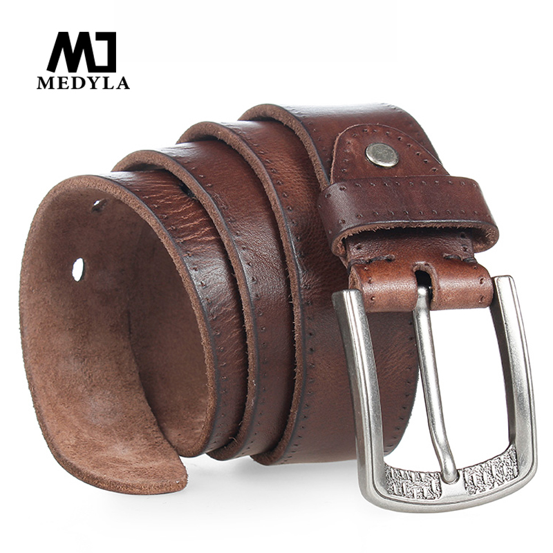 2017 Men Belt 100% Upper Genuine Leather Alloy Pin Buckle Blue Color Personality Choice Cowhide Male Strap Jeans Waistband Gift