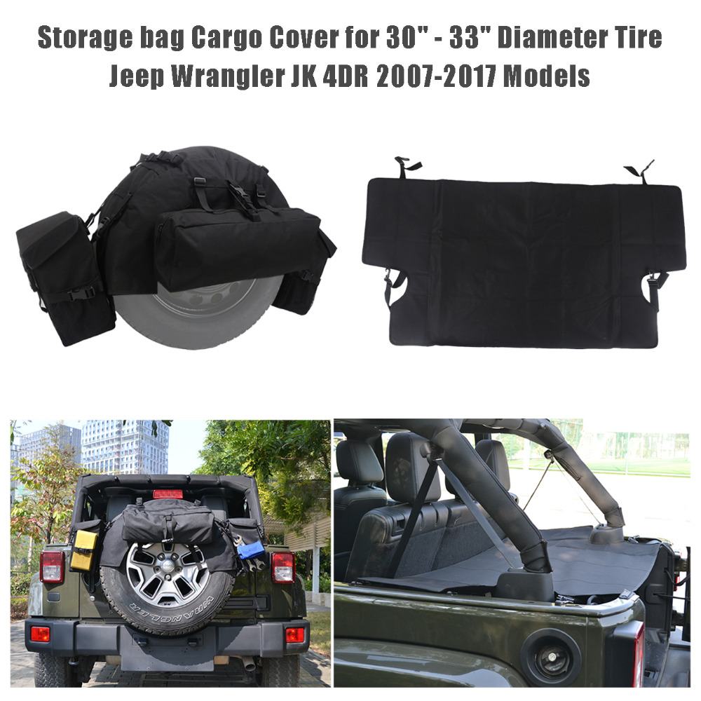 f0c1068a7f1c US $43.65 10% OFF|Spare Tire Storage Bag & Rear Trunk Cargo Cover For Jeep  Wrangler JK 4 Door 2007 2017 Car Storage Organizer Accessories CEN004-in ...